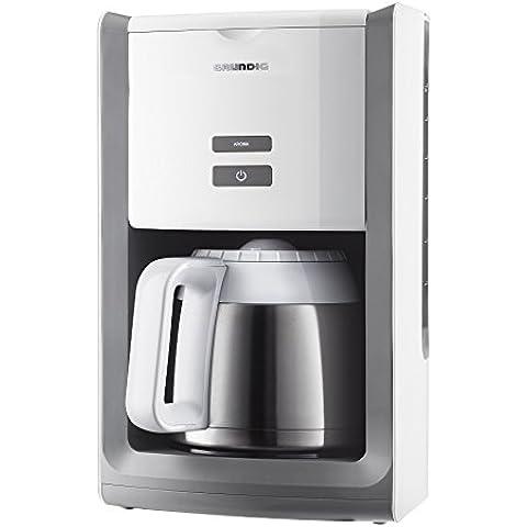 Grundig KM 8280 W - Cafetera (jarra térmica de 1,5 l, depósito de agua extraíble, apagado automático), color blanco y acero inoxidable