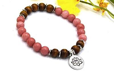 ETHNICFEATHER -Bracelet femme lotus morganite et perles bois ébène -Bracelet élastique yoga mala énergie boho hippie chic-