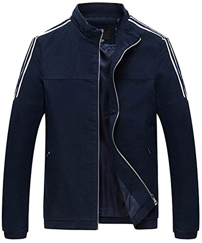 Jeansian Hommes Manteau Classic Fashion Zipper Manches Longues Casual Jacket 9406 DarkBlue