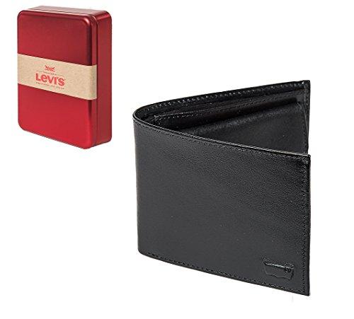 Bifold borsa in pelle intarsio maschile di Levi (12x10x2cm LxAxP) - Marrone, Nero: Colour: Black