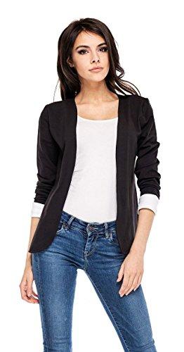 Damen Blazer Jacke lx33 Schwarz 40-42