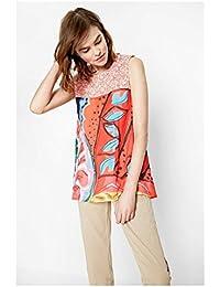DESIGUAL - Mujer camisa printed Linos XS Rojo