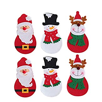 Amosfun 6 Piezas Bolsillos de Plata de Navidad no Tejido muñeco de Nieve Alces Bolsas de Cubiertos de Santa Adornos de Mesa de Cena de Navidad para Fiesta