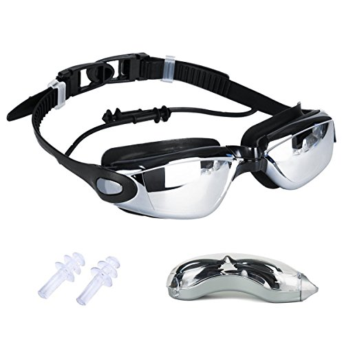 Fypo Gafas de Natación Anti UV Antinieble Adulto con Silicona Tapones