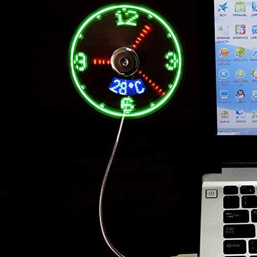 Ktimor USB Mini Ventilatoren LED Uhr mit Temperatur Tragbar Kühlung für Büro Zuhause Reise
