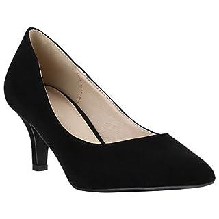 Klassische Damen Pumps Stilettos Abend Leder-Optik Glitzer Lack Schleifen Tanz Braut Schuhe 142099 Schwarz Creme Velours 40 Flandell
