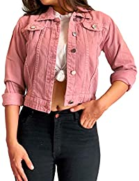 Shocknshop Full Sleeves Comfort Fit Regular Pink Denim Turn-Down Jacket for Women (JKT23)