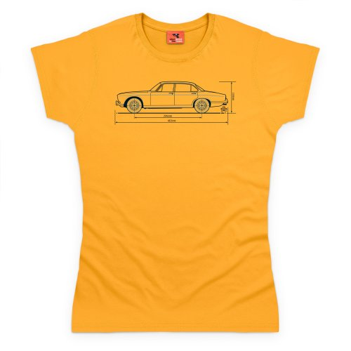 PistonHeads Jag XJ6 Luxury Car T-Shirt, Damen Gelb