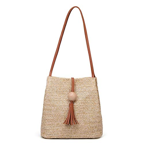 Small-shop handbags Strandtasche für Damen, geflochtene Strohtaschen, femininer, gewebter Eimer, Gras, Handtaschen, Stricken, Rattan, Schultertasche für Frauen, (Brown Bag), Einheitsgröße