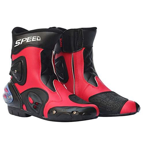 Preisvergleich Produktbild MERRYHE Herren Reiter Stiefel Leder Wasserdicht Motorrad Motorrad Racing Biker Stiefel Adventure Biker Schuhe, Red-42