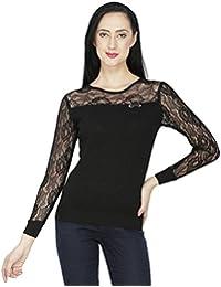 SVT ADA COLLECTIONS Black Knitted with NET Sleeves n Yoke Designer Women TOP (025402_Black_Medium)