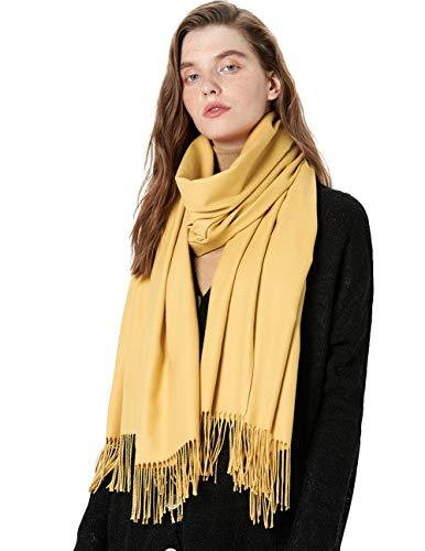 MaaMgic Schal Damen Warm Herbst unifarben Baumwolle mit quasten/fransen, 40+ Farben Einfarbig & Kariert Pashmina xl Schals Stola MEHRWEG Eigelb -