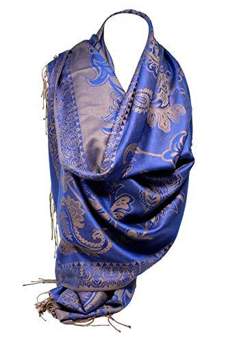 62110fd2b Bullahshah mujeres auto repujadas paisley y estampado floral reversible  doble cara pashmina sensación gran bufanda chal
