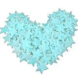 Hacoly 100er Sterne Leuchtaufkleber Wandaufkleber Leuchtsterne selbstklebend Leuchtsticker Aufkleber Kinderzimmer Wanddeko Schlafzimmer fluoreszierend Wandsticker Leuchtpunkte Wandtattoo - Blau