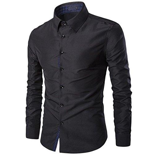 OverDose,Homme Chemise T-Shirt Manches Longues Moulante HabilléE Casual Chemise éLéGante Coupe Slim (42=Tag:L, Noir)