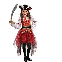 Tiaobug Mädchen Kinder Kostüm Prinzessin der Meere Piraten Kostüm Verkleidung Gothic
