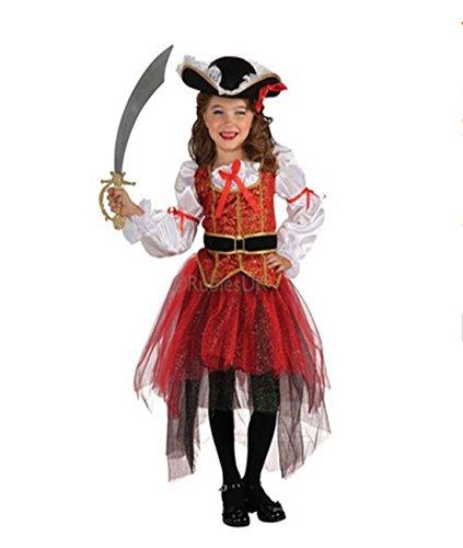 Tiaobug Mädchen Kinder Kostüm Prinzessin der Meere Piraten Kostüm Verkleidung Gothic Rot 134-140 (Kinder Piraten Kleid)