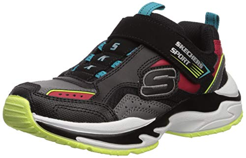 Skechers Boys' Lightweight Gore & Strap SNEA Trainers, Black Black & Gray Leather/Red Leather/Lime...