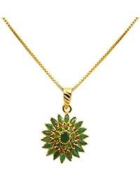 Joyalukkas Ratna Collections 22k (916) Yellow Gold and Emerald Pendant