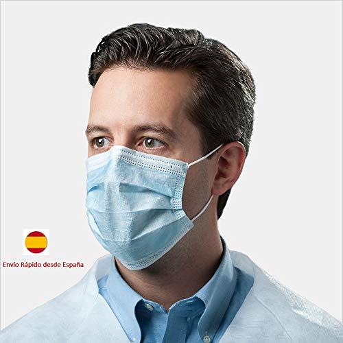 Masque chirurgical jetable en polypropylène à 3 couches et élastique 50 pièces