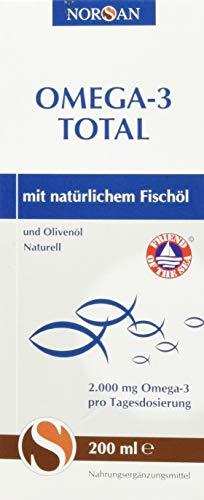 Omega-3 Total Naturell I NORSAN I flüssiges Omega-3 Öl I Fischöl I 200 ml Flasche I 2.000 mg Omega-3 pro Portion