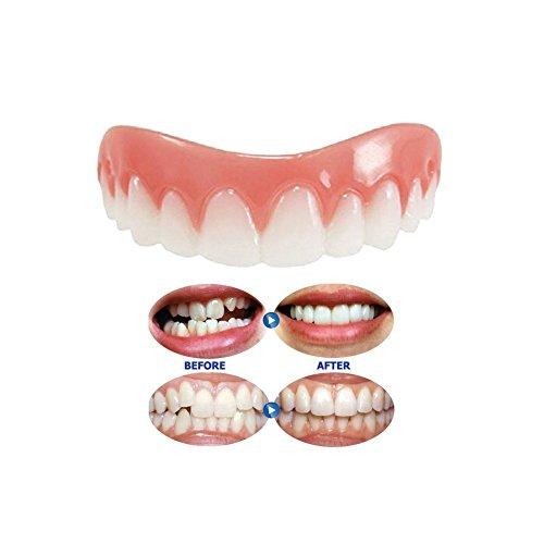 Kosmetik Zähne 1 Pack Instant Smile Zähne Comfort Fit Flex Top Kosmetik Furnier, Natürliche Kleine Bequeme neue Kosmetik Veneer Zähne für perfekte Zähne und Lächeln (Flex Natürlichen)