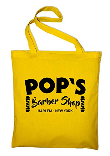 Pop's Barbeshop Harlem New York Jutebeutel, Beutel, Stoffbeutel, Baumwolltasche Gelb