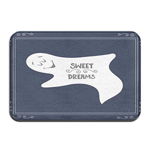 Bath Rugs and Mats,Artistic Frame with Sleeping Ghost Text On Dark Blue Backdrop,Plush Decor Mat Non Slip Backing,19.5 * 31.5 inch