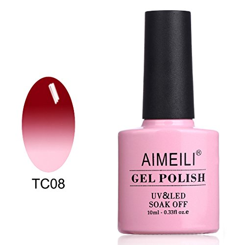 AIMEILI Soak Off UV LED Samlto in Gel Semipermanente che Cambia Colore con la Temperatura - Red Horizon (TC08) 10ml