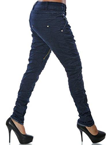 Daleus Damen Boyfriend Jeans Hose Reißverschluss Knopfleiste No 14145 Navy 34 / XS -