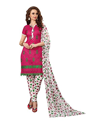 OOMPH! Women Cotton Unstitched Dress Material (rbad_bul003_Pink_Free Size)