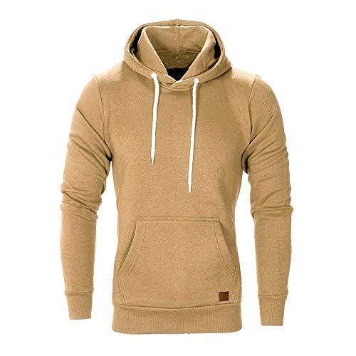 Herren Pullover Hoodie Basic Kapuzenpullover Langarm Männer Herbst Winter Casual Hoodie Sweatshirt Hoodies Top Trainingsanzüge Pulli Riou Sale (XL, Khaki)