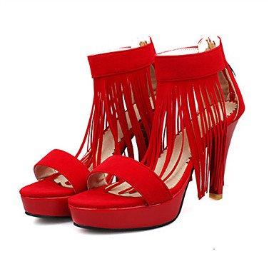LvYuan Da donna-Sandali-Matrimonio Ufficio e lavoro Casual-Innovativo Club Shoes-A stiletto-Felpato Materiali personalizzati-Nero Viola Rosso Purple