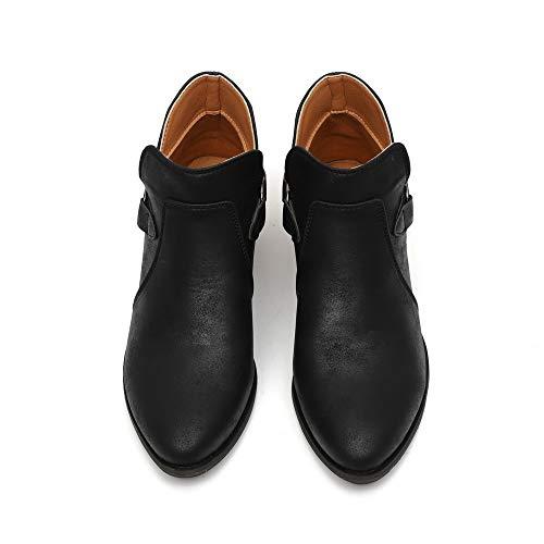 OSYARD Worker Boots Lederstiefel Damen Schwarz Große Größe Vintage Winter Elegante Mode Frauen Stiefel Spitz Boots Klassische Stiefeletten Freizeitschuhe (225/36, Schwarz)