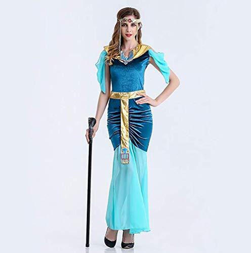 Halloween Kleopatra Kostüme Damen Erwachsene Blau Cosplay Verrücktes Kleid Ägyptische Königin Kostüm,L (Farbe : Wie Gezeigt, Größe : ()
