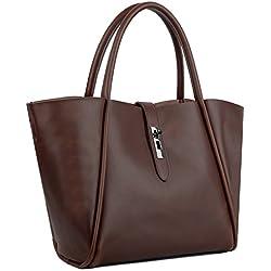 Bolso de Hombro de Mujer, YALUXE Bolso Tote de Cuero Genuino Shoppers Bolso Casual con Bolsa Interior Extraíble(Café)
