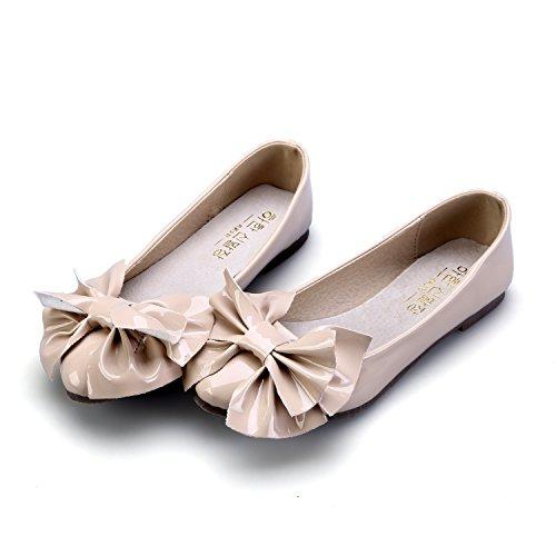 Smilun Damen Ballerina Flach Ballett Groß Schleife Glänzende Lackleder Beige
