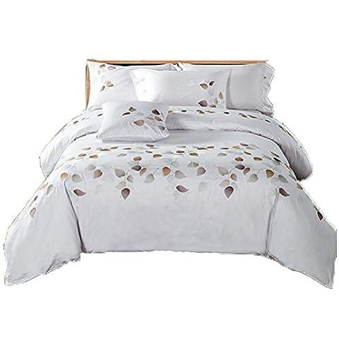 4-Teilige Bettwäsche Set Lang-Stapel Baumwolle Luxus Stil Stickerei Bettwäsche Kit, Steppdecke * 1 / Blatt * 1 / Kissenbezug * 2, Königin / König , Weiß , 2.0M