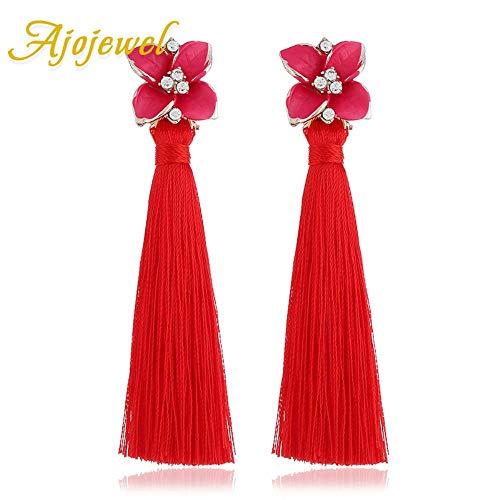 KFYU Emaille Blume DIY Seidenfaden Quaste Ohrringe Lange Frauen Kostüm Schmuck Drop Shipping Großhandel rote Quaste