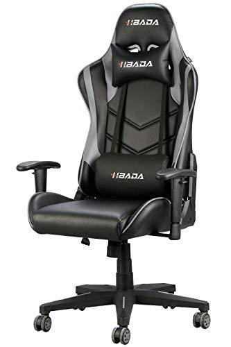 Hbada Gaming Stuhl Computerstuhl Kunstleder Bürostuhl Höhenverstellung Neigungsverstellung Ergonomisches Design mit Kopfstütze und Ledenkissen Grau