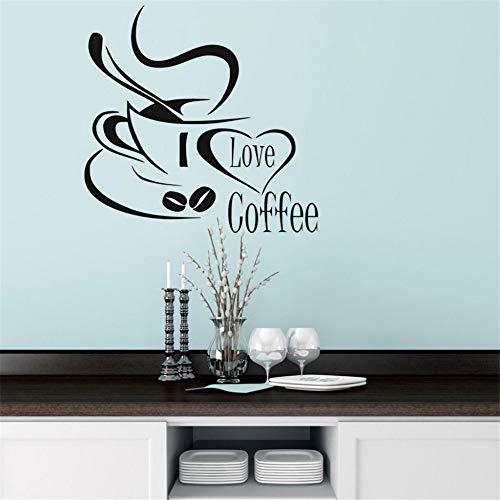 Cchpfcc Ich Liebe Kaffee Wall Decal Niedliche Kaffeetasse Wandaufkleber Küche Restaurant Küche Tasse Mit Liebe Herz Abnehmbare ()