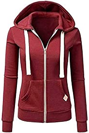 Sumeier Women's Classic Solid Full Zip Hoodie Hooded Pullover Sweatshirt Tops with Poc