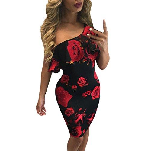 kleid damen Kolylong® Frauen elegant von der Schulter Rose Bedrucktes Partykleid Cocktail Sommer trägerlos Strandkleid Abendkleid Böhmisches kleid (L, Rot) (Rose Schulter)