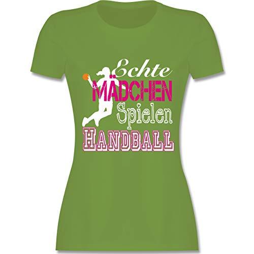 Handball - Echte Mädchen Spielen Handball weiß - L - Hellgrün - L191 - Damen T-Shirt Rundhals