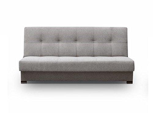 Couch mit Schlaffunktion Sofa Schlafsofa Wohnzimmercouch Bettsofa Ausziehbar - YOKOHAMA (Grau)