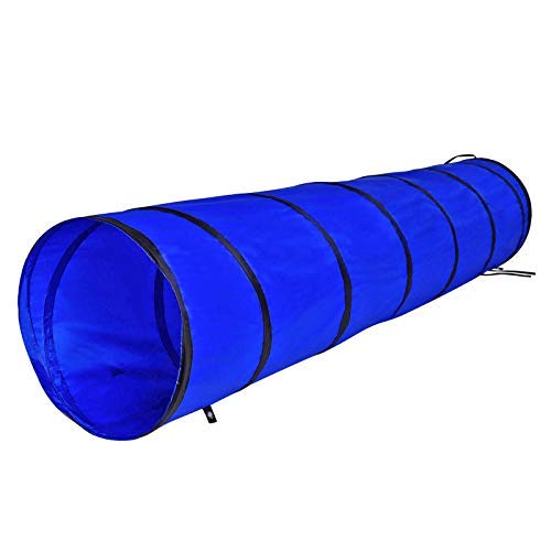 Dog Tunnel, Dog Play Tunnel, Dog Cave, Dog Agility Tunnel in various sizes, blue ((S) 200 x 40 cm)