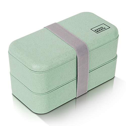 avoid waste Nachhaltige Lunchbox ♻ Die Premium Aufbewahrungsbox mit Deckel und Besteck im Bento-Box Stil mit Zwei Fächern. Biologisch abbaubar, plastikfrei, BPA frei, auslaufsicher (900ml) -