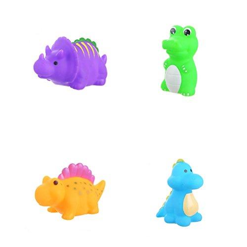 Toyvian 6 stücke Bad Spielzeug Cartoon Dinosaurier Form Wasser Spritzen Squeaker spaß badewanne Spielzeug für Babys Kleinkinder Kinder -