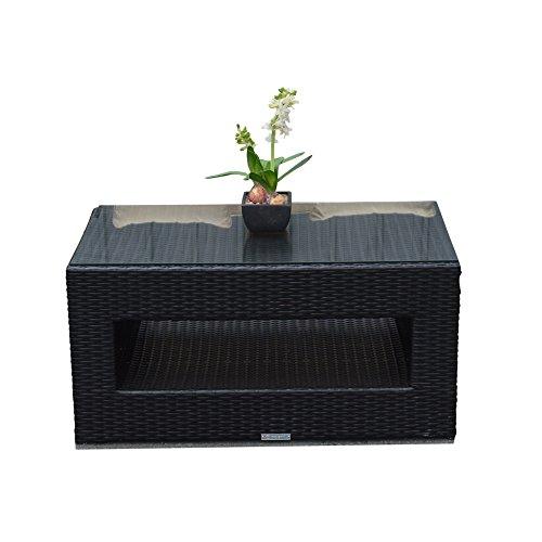 Modular Corner Rattan Sofa Set With Coffee Table In Black All Weather Furniture Garden Rattan