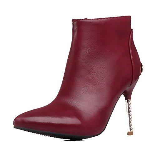 Tacco Alti Agoolar Solido Vinoso Donna Stivali Colore Rosso Affilato gapqxa7I